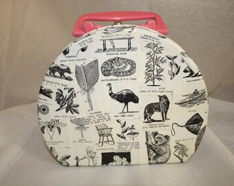 Vintage Dictionary Illustration Art Case Lunchbox Purse with Pink Handle