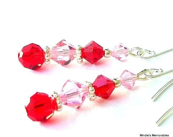 Red and pink earrings, Swarovski crystal red and pink earrings, pink and red crystal, gift for her, pink bridal, birthday gift