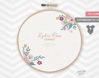 BOUQUET BABY announcement counted cross stitch pattern, modern personalized embroidery xstitch pdf