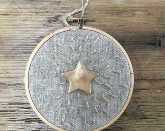 Mini Twinkly Star Embroidery Hoop Wall Hanging