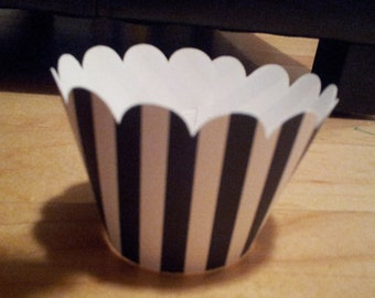 Referee  black and white Cupcake WrapperS- Set of 12