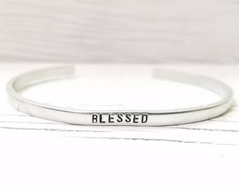 Blessed Bracelet, Blessed Skinny Stacking Cuff, Hand Stamped Bracelet