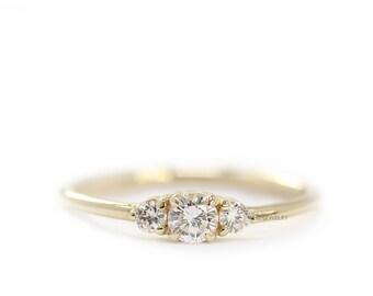 Round Diamond 3 Stones Simple Engagement Ring, Round Brillant Diamond,Wedding Gold Diamond Ring
