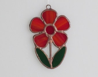 Stained Glass Red Flower Suncatcher (small)
