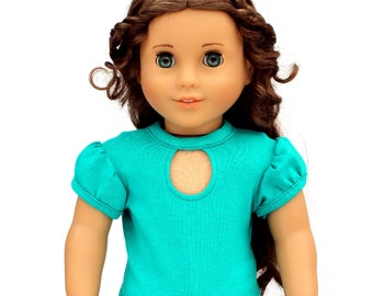 Fits like American Girl Doll Clothes - Keyhole Tee in Jade | 18 Inch Doll Clothes RTS