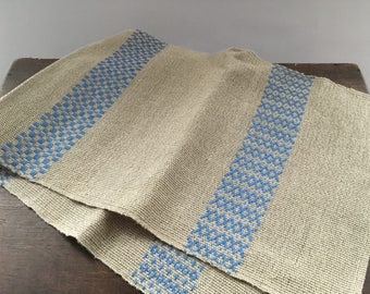 Vintage woven table runner Linen table runner Striped gray blue table runner Farmhouse kitchen runner