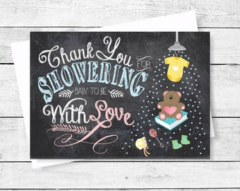 Thank You Note Cards Shower Baby With Love Chalkboard Thank You Flat Note Card