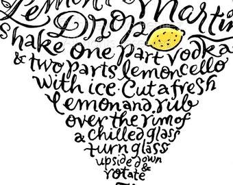 Handlettered Lemon Drop Martini Rezept-Kunstwerk - schwarz und gelb