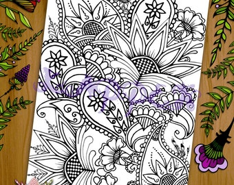 Printable Coloring Page - Henna Floral Design - PDF Download