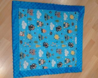 Woodland creatures Blue Minky Baby Blanket