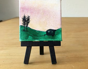 mini painting, night sky, galaxy watercolor, watercolor landscape, landscape painting, constellation, northern lights, abstract watercolor
