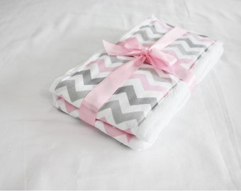 Pink and Grey Chevron Burp Cloths - Set of 2