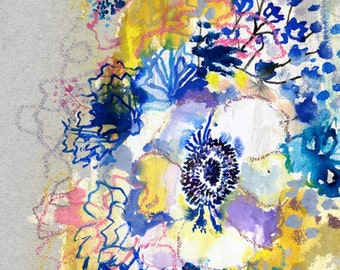 Big Blue Anemone - limited edition art print