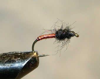 Fly Fisherman - Made in Michigan Fly - Hand-tied - Black with Copper and Red - Fly Fishing Flies - Classic Fishing Flies - Number 10 Hook
