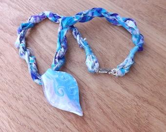 Sari silk and glass pendant, sari silk necklace, leaf pendant, blue necklace, Boho necklace, gypsy pendant, festival jewellery, necklace