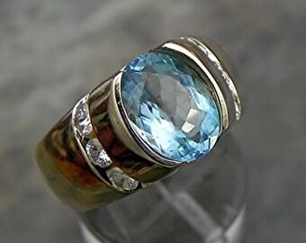 AAAA Santa Maria Aquamarine   10x7mm  2.02 Carats   14K  Yellow Gold ring with .65 ct diamonds 1624 MMM