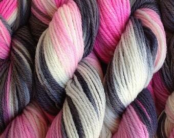 Handpainted Merino Yarn DK Sport Weight Wool in Me Too Pink White Gray Black