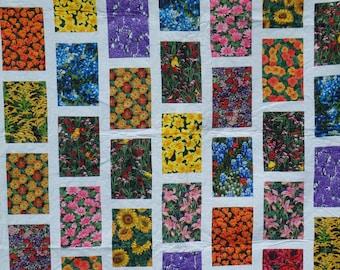 twin size quilt, flower quilt, modern quilt, lap quilt