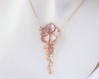 Plumeria Shell Crystal Necklace, Frangipani Necklace, Hawaiian Necklace, Hawaiian Beach Wedding, Bridesmaid Gift, Tropical Necklace