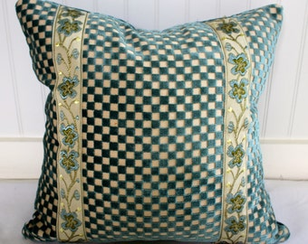 Custom Designer Pillow Cover / Teal, Cream Check Velvet Front, Ribbon Trim, Velvet Back / Handmade Home Decor Accent Pillow