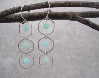 Peruvian Opal Earrings - Silver Windowpane - Summer Style -Lightweight Chandelier - Caribbean Blue - Aqua - Silver and Blue