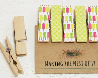 Whimsical Summer Pink Lime Popsicle Magnet Clothespins