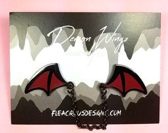 Demon wings enamel pins with chain - black red wing lapel pin badge flair collar pin hat pin kawaii anime japanese