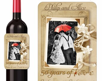 Anniversary Wine Labels Personalized 50 Years of Love Photo Stickers Custom Labels Waterproof Vinyl 3.5 x 5 Inch