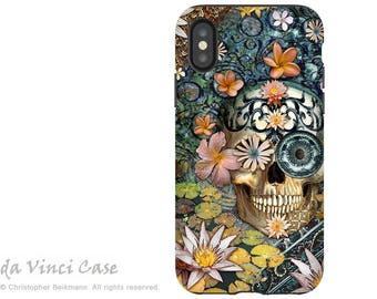 Floral Sugar Skull - Dia De Los Muertos iPhone X Tough Case - Botanical Skull Dual Layer Protective Case for iPhone 10 - Bali Botaniskull