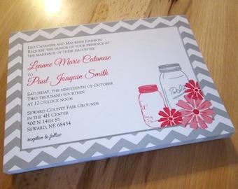 Mason Jar Daisies - Custom Invitations