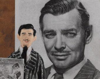 Clark Gable Old Hollywood Movie Star Film Celebrity Unique Art Doll Miniature