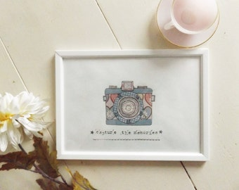 vintage camera collage / A4 framed / illustration / home decor / housewarming /wall art /pastel / inspirational / motivational / quote / art