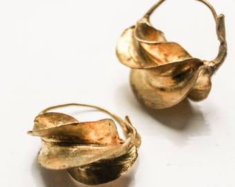Gold twisted earrings  African tribal earrings  Gold hoops  African jewelry  Ethnic Earrings  Gold Statement Jewellery  Fulani jewellery