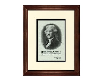 Print and Quotation of Thomas Jefferson with Mat and Frame