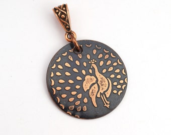 Copper peacock pendant, small round flat bird jewelry, optional necklace, 25mm