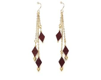 Gold chandelier earrings Fringe earrings Gold tassel earrings Wooden earrings Beaded earrings Chain earrings Statement earrings Gold earring