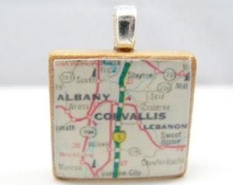 Corvallis and Albany, Oregon - 1988 Scrabble tile map pendant