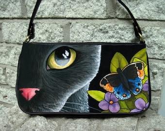 Clutch or Sling Bag Purse Handbag black Cat 557 Butterfly art painting L.Dumas