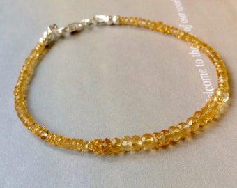 Golden Citrine Bracelet, November Birthstone Bracelet, Genuine Citrine, Stacking Bracelet, Sterling Silver, Gold Filled, November Birthday