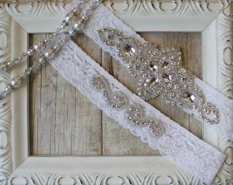 Garter Set, Wedding Garter Set, Bridal Garter Set, Vintage Wedding, Lace Garter, Crystal Garter Set - Style 001 A