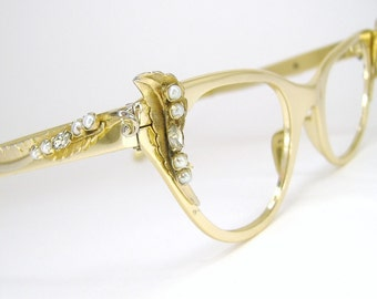Vintage Womens 50s Cat Eye Eyeglasses Tura Gold Winged with Rhinestones and Pearls Frame