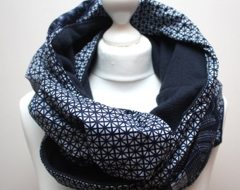 Ankara snood scarf, Infinity scarf, Circle scarf, Hooded scarf, Blue Ankara Scarf, Afrocentric scarf, Fleece Scarf, African print scarf