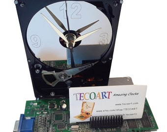 Business Card Holder Hard Drive Clock. Recycled Hard Drive, Unique Gadget, Geek Gifts for Men, Office Award, Office Clock, Graduation Gift!