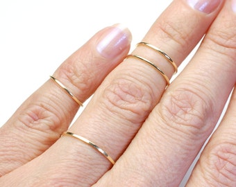 Knuckle Rings, Gold Rings, Gold Bands, Top Finger Rings, Small Rings, Stacking Rings, Stacking Bands, 14k Gold Knuckle Rings, Nixin