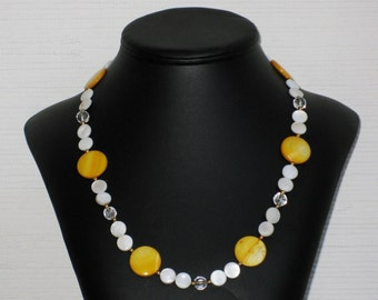 Quartz Crystal and Mother of Pearl Circle Necklace