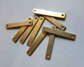 100pcs Raw Brass Rectangle Connectors With Two Hole,Stamping Tags Findings 25mm x 4mm - F534