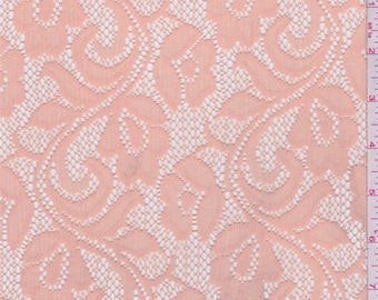 Apricot Floral Stretch Lace, Fabric By The Yard