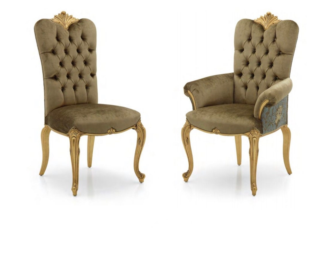 Rocaille Upholstered Dining Chair or Carver Armchair Bespoke Custom Finished Upholstered To Order Handmade Seating Millmax