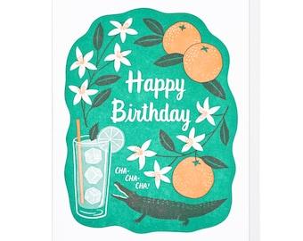 Birthday Cha Cha Letterpress Card