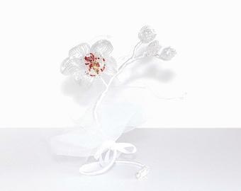 20cm Beaded Orchid Self Standing Beaded Flower. French Beaded Flower. Beaded Wedding Centerpiece Arrangement. Flower Wedding Centrepiece